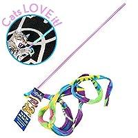 CAT DANCER Cat Toy Cat Charmer Safe Wand Teaser Tela de colores Cinta de juguete de ejercicio flexible y seguro 1 paquete