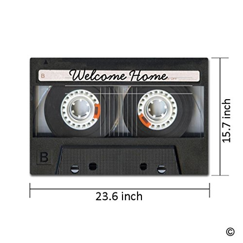 Artswow Entrance Floor Mat – Music Mix Tape Look With Welcome Message Door Mat with Non Slip Rubber Backing Door Mat, 15.7 by 23.6 Inch