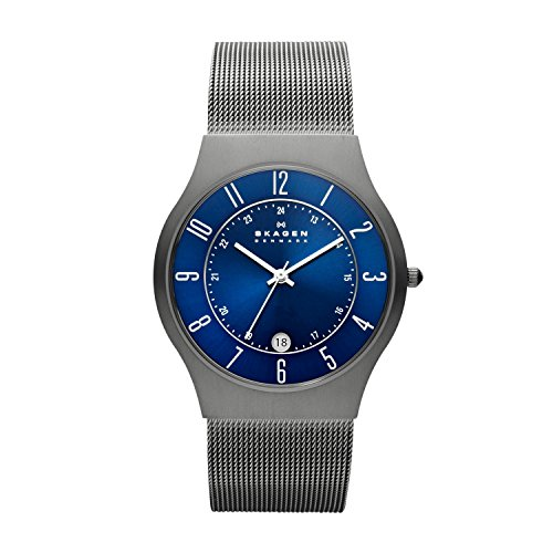 Skagen Men's Grenen Quartz Titanium and Stainless Steel Mesh Casual Watch, Color Grey (Model: - Watch Titanium Mesh