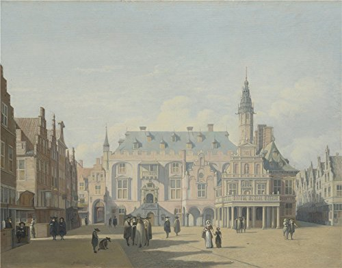 Oil Painting 'Gerrit Berckheyde - The Market Place And Town Hall, Haarlem,about 1691' 24 x 31 inch / 61 x 78 cm , on High Definition HD canvas prints is for Gifts And Dining Room, Foyer And Ga decor (Bench Dining Market World)