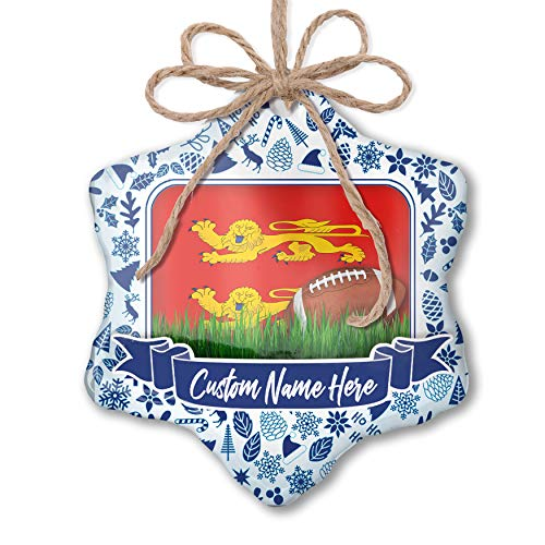 (NEONBLOND Custom Tree Ornament Football with Flag Basse-Normandie Region France with Your Name)