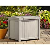 Cosmic Furniture Modern Style Light Taupe Small Storage Deck Box with Durable Long Lasting Resin Construction and Stay Dry Design for Patio and Garden Outdoor or Indoor Use