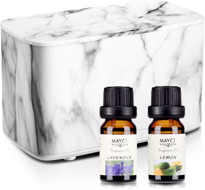 Essential Oil Diffuser with Oils, 300ml Marble Aromatherapy Diffusers and Oils Set with 2 Mist Outputs, Ultrasonic Cool Mist Humidifier for Large Room, Living Room, Black, Gift Idea