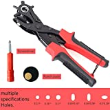 Revolving Leather Hole Punches - Esste Professional Heavy Duty Belt Hole Puncher Tool For Easily Punches Perfect Round Holes (Red)