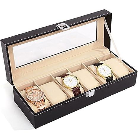 JZK Estuche relojes caja para guardar relojes de pulsera con 6 compartimentos: Amazon.es: Relojes