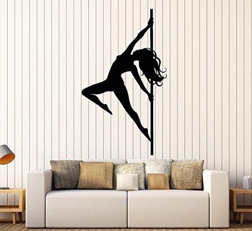 Vinyl Wall Decal Stripper Striptease Dancer Girl Pole Dance Stickers Large Decor (2240ig) Black (Pole Dance Wall Decal)