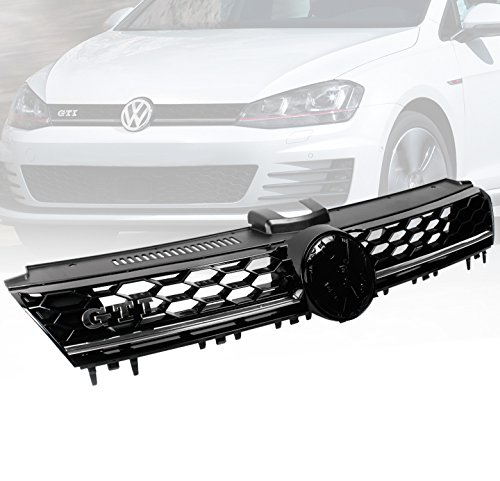 zmautoparts 15 VW Golf Mk7 VII GTI estilo frontal campana en forma de panal rejilla de malla negro/cromado: Amazon.es: Coche y moto