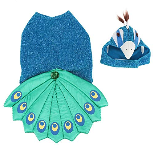 Pet Peacock Costumes Pet Theme Party Outfit Adjustable Puppy Party Dress Dog Cat Peacock Cosplay Costume with Hat