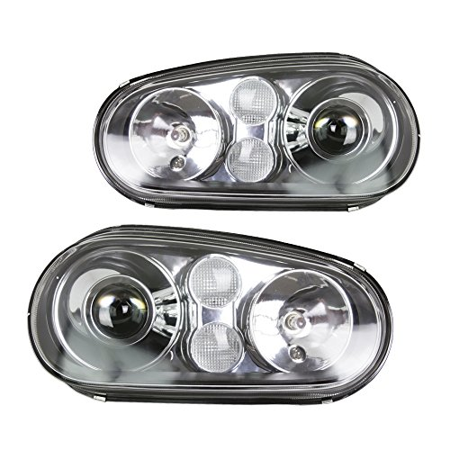 (99-05 VW Golf MK4 ECode Projector Glass Lens Headlights Black Frame Clear Signal)