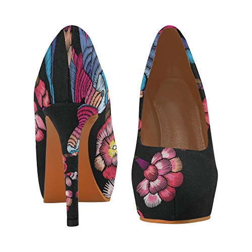 Interestprint Skulls Beautiful Mujeres Sexy High Heels Pump Zapatos Imprimir Flowering Branch Con Un Pájaro