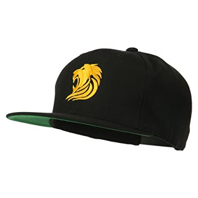 6bfcd09508622 E4hats Gold Lion Embroidered Wool Snapback Cap - Black OSFM at ...