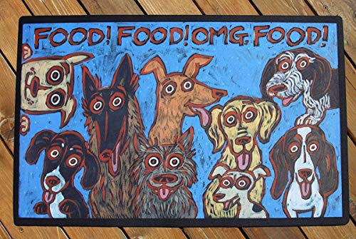 OMG FOOD!! EXTRA LARGE DOG DISH BOWL MAT. WASHABLE. DURABLE. HIGH QUALITY. MADE IN USA. ()
