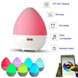 Bluetooth Smart App Control Music Essential Oil Aroma Diffuser Atomizer Humidifier Aroma Diffuser 7 Color LED Lights Change 450ml Volume for Home Office Bedroom