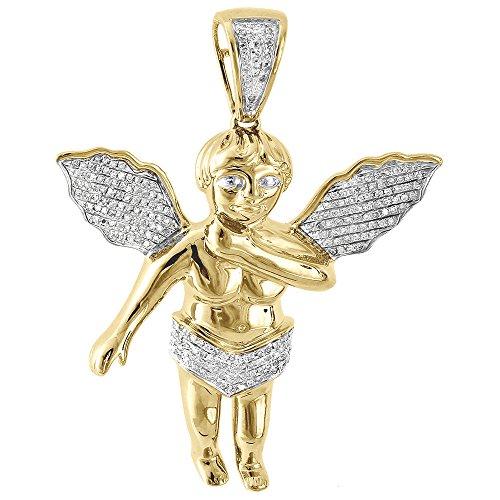 10K Yellow Gold Round Cut Diamond Angel Cherub Pendant .57 Cttw