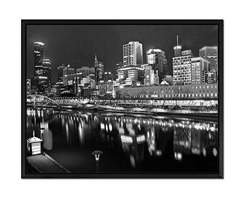 Melbourne, Australia - Art Print Wall Art Canvas stretched With Black Wooden Frame - Black and White - Ready To Hang - 24x16 Inches