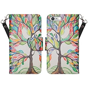 "iPhone 8 PLUS Wallet Case, for Apple iPhone 8 7 Plus (5.5"") Case Premium PU Leather Flip Fold Wallet Pouch ID Card Holder Kickstand [Wrist Strap] Cover by Zase Unique Design (Colorful Tree of Life)"