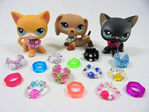 happyblockbuilder LPS Littlest Pet Shop Accessories Collars Clothes 3 pc random collars Gift Bag PET NOT INCLUDED