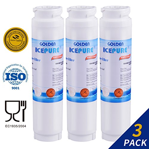 Golden Icepure 644845 Replacement Refrigerator Water Filter,Compatible with Bosch Ultra Clarity 644845, 9000077104, 9000194412 (3-Pack)