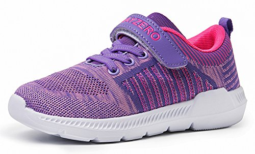 Vivay Girls Tennis Shoes Toddler Kids Shoes Running Sneakers for Girls (Purple,Size 2 Little Kid) (Slip On Girls Shoes Size 2)