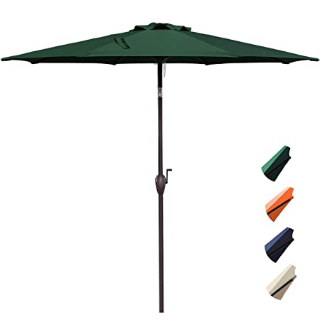 RUBEDER 10 Patio Umbrella Outdoor Market Table Umbrella with 8 Sturdy Ribs,Wing Vent,Push Button Tilt Crank 10 Ft, Dark Green 3