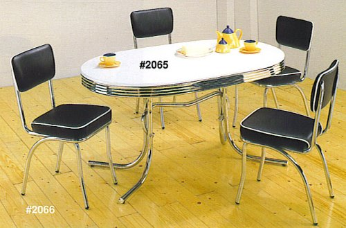 50's Retro Table Set Chrome Oval Table With 4 Chairs 51920F1728L