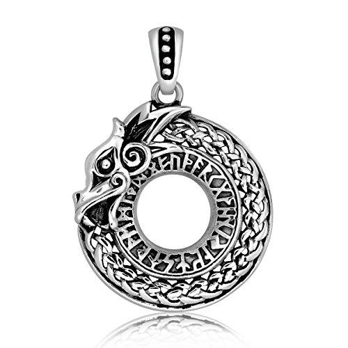 WithLoveSilver 925 Sterling Silver Celtic Dragon Hoop Talisman Pendant