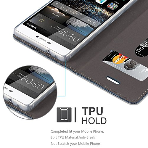 Cadorabo - Funda Estilo Book para Huawei P8 de Diseño Tela / Cuero Arificial con Tarjetero, Función de Suporte y Cierre Magnético Invisible - Etui Case Cover Carcasa Caja Protección en AZUL-OSCURO-NEG AZUL-OSCURO-NEGRO