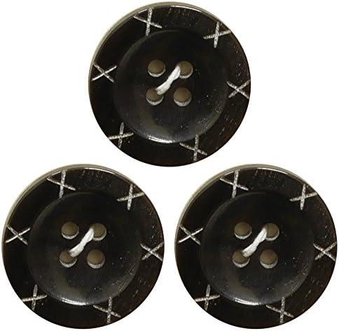 ベルアート 本水牛 ボタン 20mm Col.00 ブラック 3個入り AZWB-0031