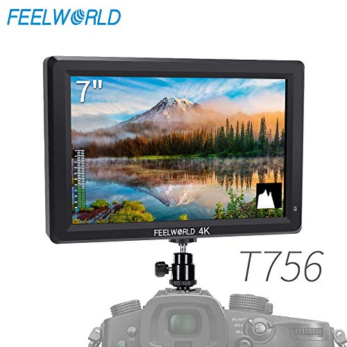 FEELWORLD T756 7 Inch DSLR Camera Field Monitor 4K HDMI Input Output Video Assist Full HD LCD Screen IPS 1920x1200 External Display with Peaking Focus False Colors Zebra Exposure (Best Monitor For Gh4)