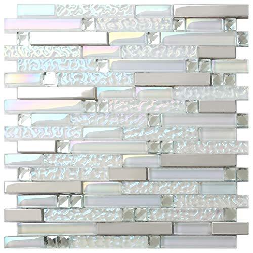 New Design TST Glass Metal Tile Iridescent White Glass Silver Mirror Stainless Steel Blends Interlocking Strip Wall Tiles TSTNB01 (10 Square Feet) (Best Grout For Mosaic Tile Backsplash)