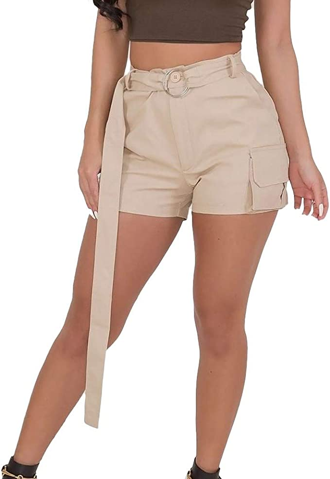 JOFOW Womens Shorts Solid Front Pock Pockets A Line Casual High Waist Mini Pants