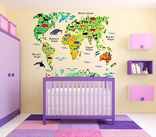 Eveshine animal world map wall decals stickers for bedroom for Animal room decoration games