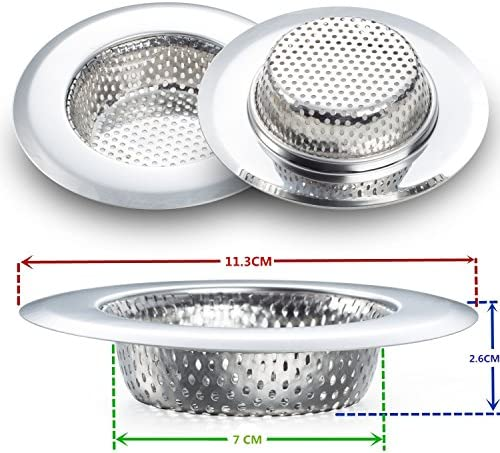 Fengbao 2PCS Kitchen Sink Strainer  Stainless Steel Large Wide Rim 45 Diameter