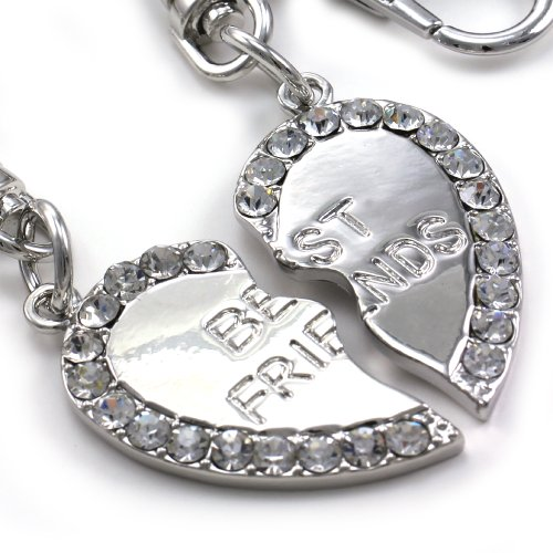 Best Friends Forever BFF Clear Two Love Heart Teen Teenager Lady Women Engraved Letters Fashion Keychain Key Ring Charm