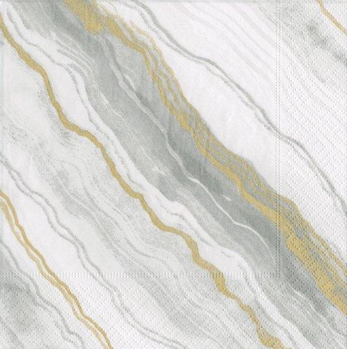 Caspari Marble Paper Cocktail Napkins in Grey, Pack of 40