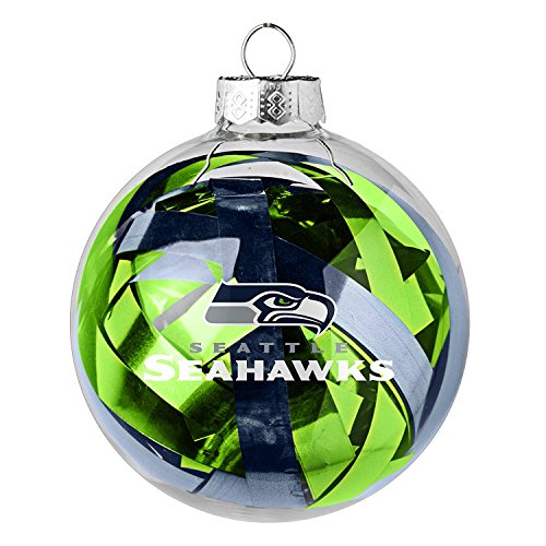 NFL Officially Licensed Seattle Seahawks Tinsel Filled Ball Ornament
