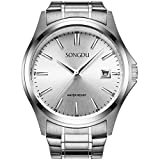 SONGDU Men's Waterproof Date Analog Quartz Stainless Steel Dress Watch Silver Dial