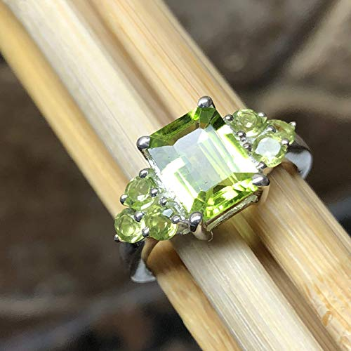- Natural 4ct Apple Green Peridot 925 Solid Sterling Silver Emerald Cut 3-Stone Ring sz 6, 7, 7.75, 8, 8.75, 9