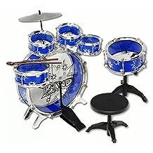 11pc Kids Boy Girl Drum Set Musical Instrument Toy Playset Bue
