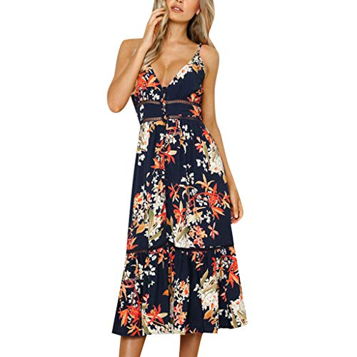 FORUU Long Dresses for Womens, Ladies Sexy Sleeveless Floral Printed V-Neck Lace Patchwork Holiday Party Bridesmaid Wedding 1920s 1950 Newest Arrivals Trendy Stylish Elegant -