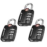 TSA Approved Luggage Locks, Fosmon (3 Pack) Open Alert Indicator 3 Digit Combination Padlock Codes for Travel Bag, Suit Case, Lockers, Gym, Bike Locks or Other