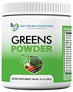 Greens Powder -Doctor Recommended-Complete-Natural Whole Super Food Nutritional Supplement - Greens Drink w/Organic Fruits, Vegetables,