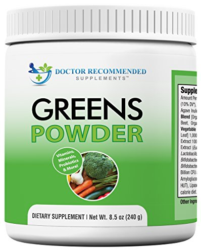 Greens Powder -Doctor Recommended-Complete-Natural Whole Super Food Nutritional Supplement - Greens Drink w/Organic Fruits, Vegetables, Plus Probiotics and Digestive Enzymes-Compare Our Ingredients! Digestive Greens