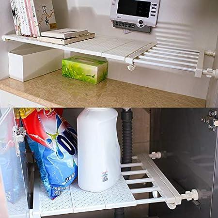 feeilty Ausziehbare Adjustable Storage Rack-Regal-Wand Montiert Rack-Platzsparend F/ür K/üchenschrank K/ühlschrank Schrank B/ücherregal