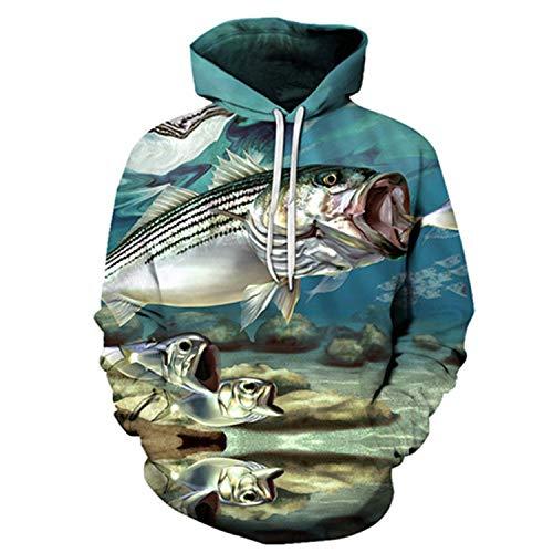 Men&Women Hoodies Fish 3D Print Harajuku Men Punk Style Sweatshirts Couple Hoodie Motorcycle Streetwear