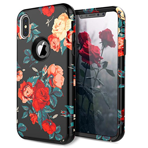 iPhone X Case, WeLoveCase Shockproof Armor Defender Case High Impact Heavy Duty Hard PC with Soft Bumper 3 in 1 Protective Cover with Flower Floral Printed Pattern Design for iPhone X - Bbellamy Red