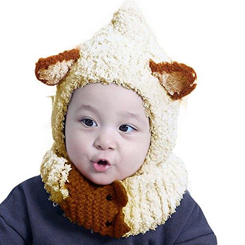 Warm Coral Velvet Hood Scarf Caps Hats Set for Baby Kids Girls Boys (Beige) ()