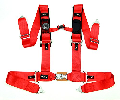 Tanaka Latch and Link 4-Point Safety Harness Set with Ultra Comfort Heavy Duty Shoulder Pads and Utility Pockets (for one seat) (Red)