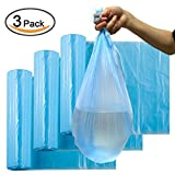 "Plinrise CA Garbage Rubbish Trash Wastebasket Bags small Size 18""*20"",thickness: 0.003"", Great for Indoor Office,living Room, Bedroon,car,30 Counts*3 Rolls/set (Total 90 Counts) (Blue 3 Gallon)"