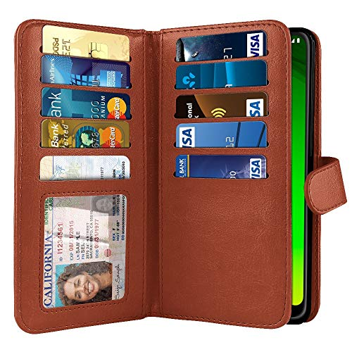 - NEXTKIN Case Compatible with Motorola Moto G7 Power 6.2 inch, Dual Wallet Folio TPU Cover, 2 Large Pockets Double Flap, Multi Card Slots Button Strap for Moto G7 Power (NOT FIT G7 Play) - Dark Brown